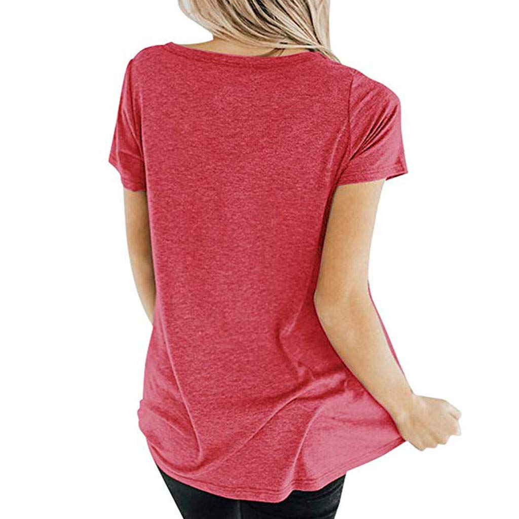 AOJIAN T Shirt Women Flare Short Sleeve Shirts Crisscross Solid Tunic Blouse Tanks Vest Tops