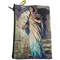 Blessed Virgin Mary Icon Holder Cloth Rosary Case Tapestry Zipper Close Pouch From Holy Land