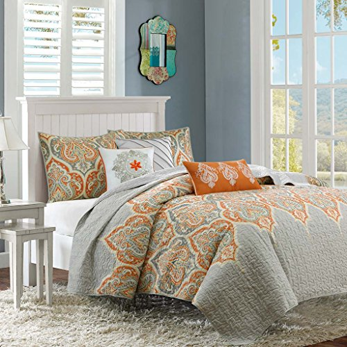 Madison Park Nisha King/Cal King Size Quilt Bedding Set - Grey Orange, Paisley – 6 Piece Bedding Quilt Coverlets – 100% Cotton Bed Quilts Quilted Coverlet -