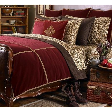 Ralph Lauren Venetian Court Burgundy Velvet Jacquard KING Duvet Cover