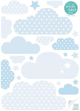 lovely label Wandsticker selbstklebend WOLKEN BLAU- Wandaufkleber  Kinderzimmer / Babyzimmer mit Wolken und Sternen in versch. Farben -  Wandtattoo ...