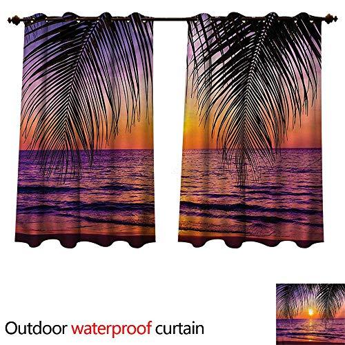 cobeDecor Tropical Outdoor Ultraviolet Protective Curtains Sunset Twilight Sundown W72 x L63(183cm x ()