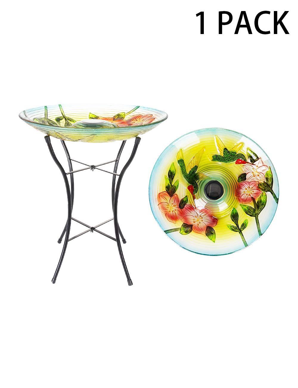 Afirst Bird Baths with Metal Stand and Solar Light, Outdoor Garden Fusion Glass Birdbaths 18'' (2 Hummingbirds)