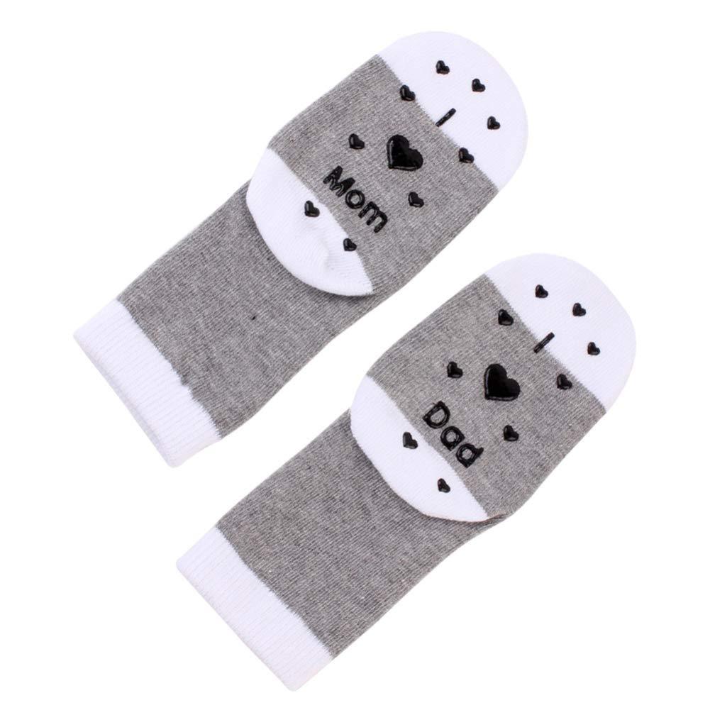 Bluelans Toddler Socks Baby Infants Socks Kids Socks Love Heart Mom Dad Print Boys Girls Socks Fun Design Socks Antislip Socks Baby Socks Cotton Winter Socks Gift for Baby