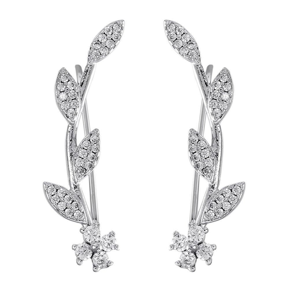 Ear Crawler Earrings for Women Ear Climber Cuff Earrings Silver Leaf CZ