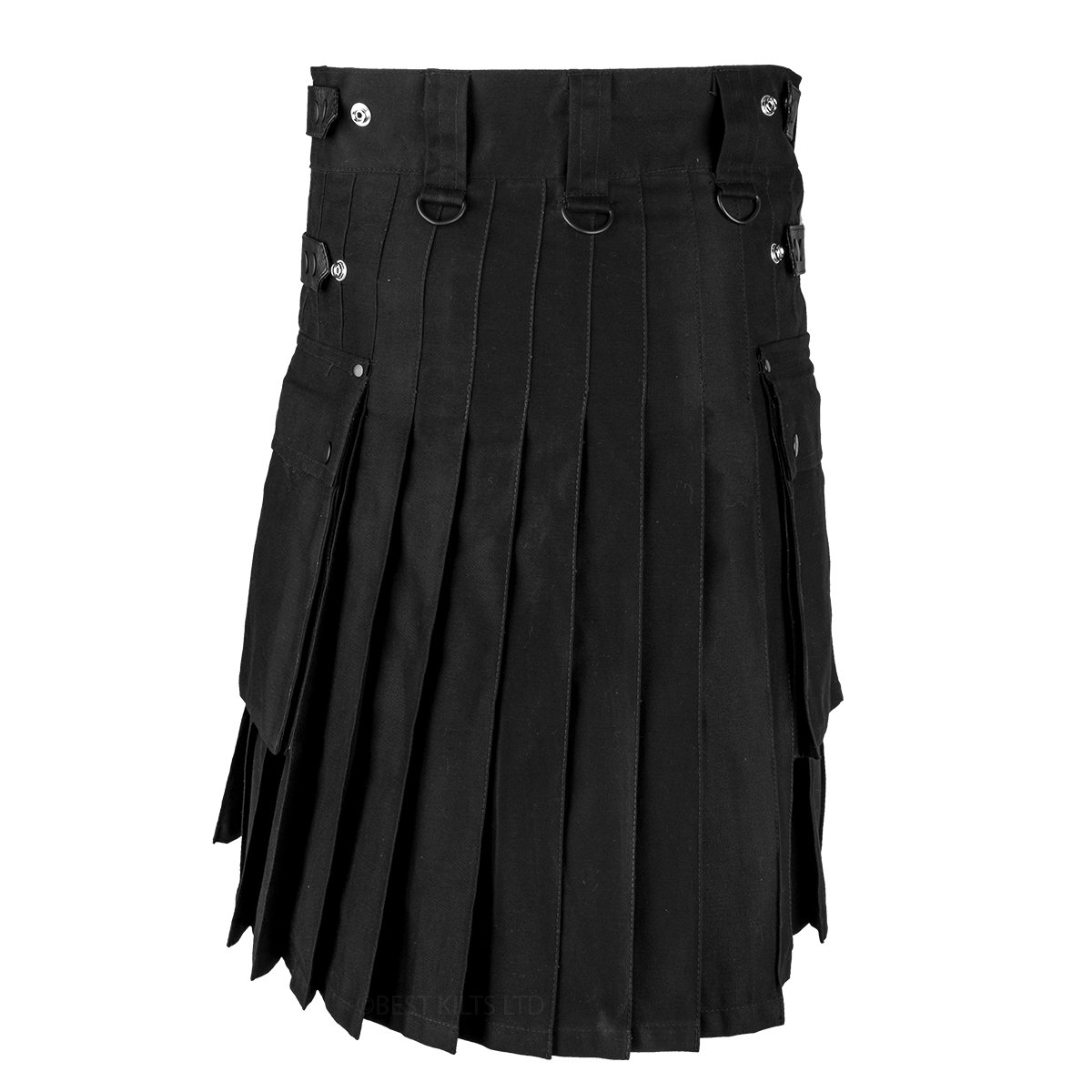 "Black Cotton And Leather Straps Utility Kilt For Men />Sizes Available 30/"" to 48/"""