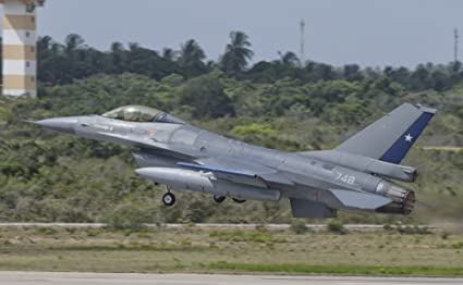 Chilean Air Force F 16 taking off from Natal Air Force Base