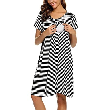 SULEAR New Maternity Wear Ropa De Maternidad Women Maternity Short Sleeve Stripe Nursing Baby Nightdress Breastfeeding