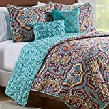 VCNY Home Yara 5 Piece Damask Print Reversible Quilt Cover Bedding Set, King, Aqua