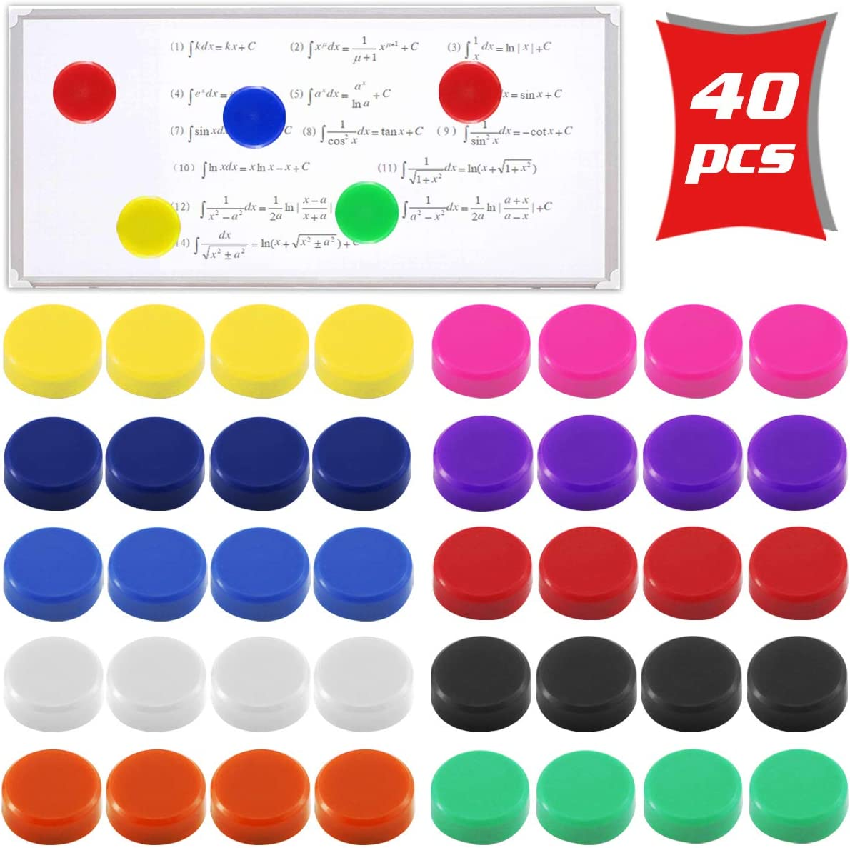 DLOnline 40 Pack 2cm 0.8'' Office Supplies Magnets,Round Refrigerator Magnets,Whiteboards, Lockers, or Fridge Magnets (Assorted 10 Colors)