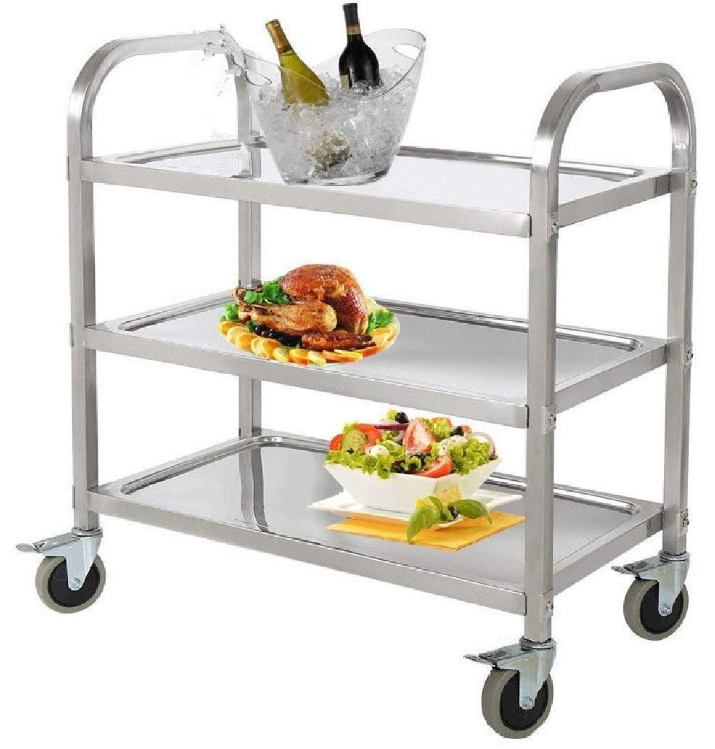 Stainless Steel 3-Shelf Utility Service Storage Cart for Restaurant Catering Kitchen Up to 300 lbs Capacity Stainless Steel Carts - 29.5''x15.7''x32.9''
