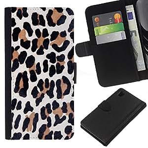 Stuss Case / Funda Carcasa PU de Cuero - Marrón Piel animal Negro - Sony Xperia Z1 L39