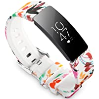 allbingo Cute Bands Compatible with Fitbit Inspire HR & Inspire & Ace 2, Women Men Floral Print Replacement Strap Accessories Wristband Small Large for Inspire HR & Inspire