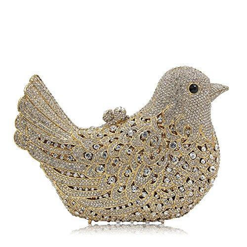 Banquet Femmes Main Oiseau discothèques Blue À Soirée Mariage De Sac Sac Sac Gold Cosmétique À Élégant Soirée Luxe Color Main Forme Pochette pour de Ux8aqwPrxp
