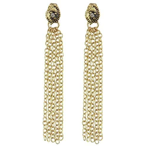 5b98683b2 Image Unavailable. Image not available for. Color: Ettika Love Hangover Earrings  Crystal and Gold Tone Chain Drop Earrings