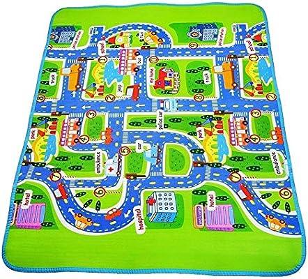 Baby Crawling Play Mat EVA Foam Pad Waterproof Surface Town City Design Play Mat