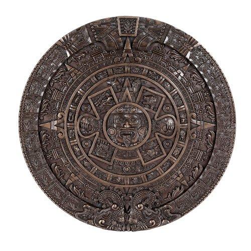 Mexica Aztec Maya Solar Sun Xiuhpohualli & Tonalpohualli Bronzed Wall Calendar Sculpture Plaque Figurine