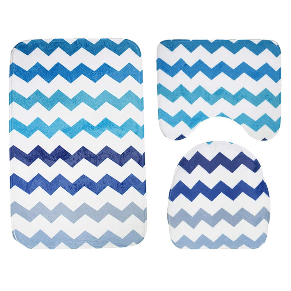 PLLP Bathroom Mat, Flannel Printed Wave Pattern Bathroom Bathroom, Toilet Mat Three-Piece Toilet Seat Slip Mat,A,75453