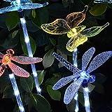 Mexidi Solar Garden Lights,Hummingbird Butterfly & Dragonfly Solar Stake Lights Multi-color Changing LED Garden Figurines Lights for Garden Pathways Patio Driveway (Butterfly+Dragonfly +Hummingbird)
