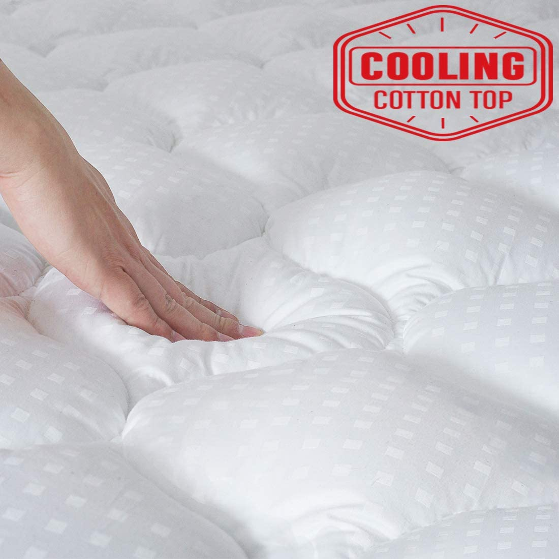 "APRAW Full Mattress Pad Cover Overfilled Quilted Fitted Cooling Mattress Protector Cotton Top PillowTop 8-21"" Deep Pocket Mattress Topper"