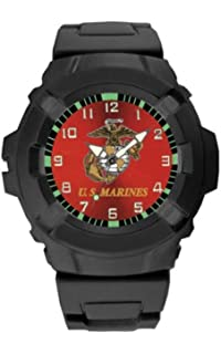 Aqua Force USMC Logo 47mm Diameter Quartz Watch, Black with Red Face