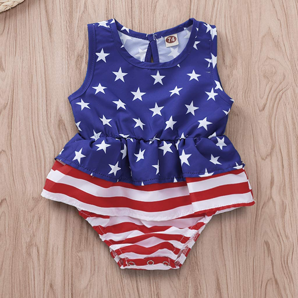 FANCYGIRL Newborn Baby Girl Romper Bodysuits Cotton Flutter Sleeve One-Piece Romper Outfits Clothes