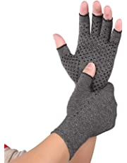 Volwco Compression Fingerless Gloves, Non-Slip Pressure Gloves,Improve Grip Strength,Warm Palm, Relieve Arthritis Pain,Support and Improve Wrist and Hand Circulation,Size Optional,1 Pair