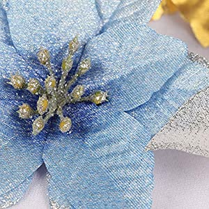 Artificial Fowers 15Cm Christmas Flowers Xmas Christmas Tree Decorations Glitter Wedding Party Artificial Flowers Decor 6 Colors Drop Shipping,Silver 3
