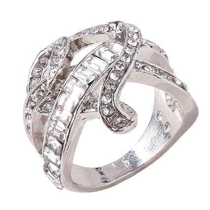 Mujer Ring, huihui Natural Blanco Zafiro Corazón Boda Anillo Silver Anillo Diamante Compromiso Anillos Princesa