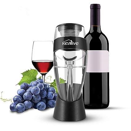 Kealive Decantador Vino - decantador de cristal for Wine, decantar el vino en segundos,