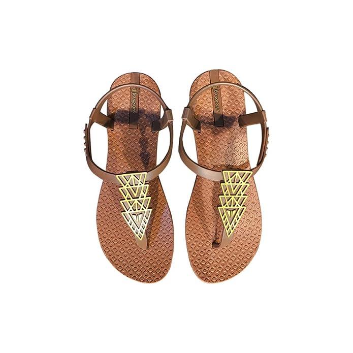 Mujeres Chanclas Sandalias Boho el Estilo del Clip del Dedo del pie de Las Sandalias Planas de Las Correas de Las Sandalias Peep Toe Playa Zapatos