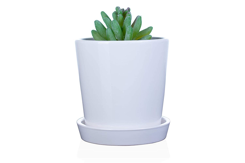 EcoSeason Cylinder Plant Pot – 4.5 Ceramic Planters with Drainage Hole Tray – Home Decor Garden Decor 1, White