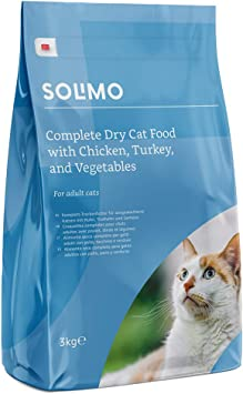 Amazon Brand Solimo Complete Dry Cat Food With Chicken Turkey And Vegetables 3 Packs Of 3kg Amazon Co Uk Pet Supplies