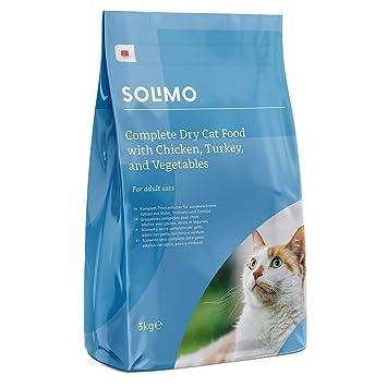 Marca Amazon - Solimo - Alimento seco completo para gatos adultos con pollo, pavo y verduras, 1 Pack de 3 kg: Amazon.es: Productos para mascotas