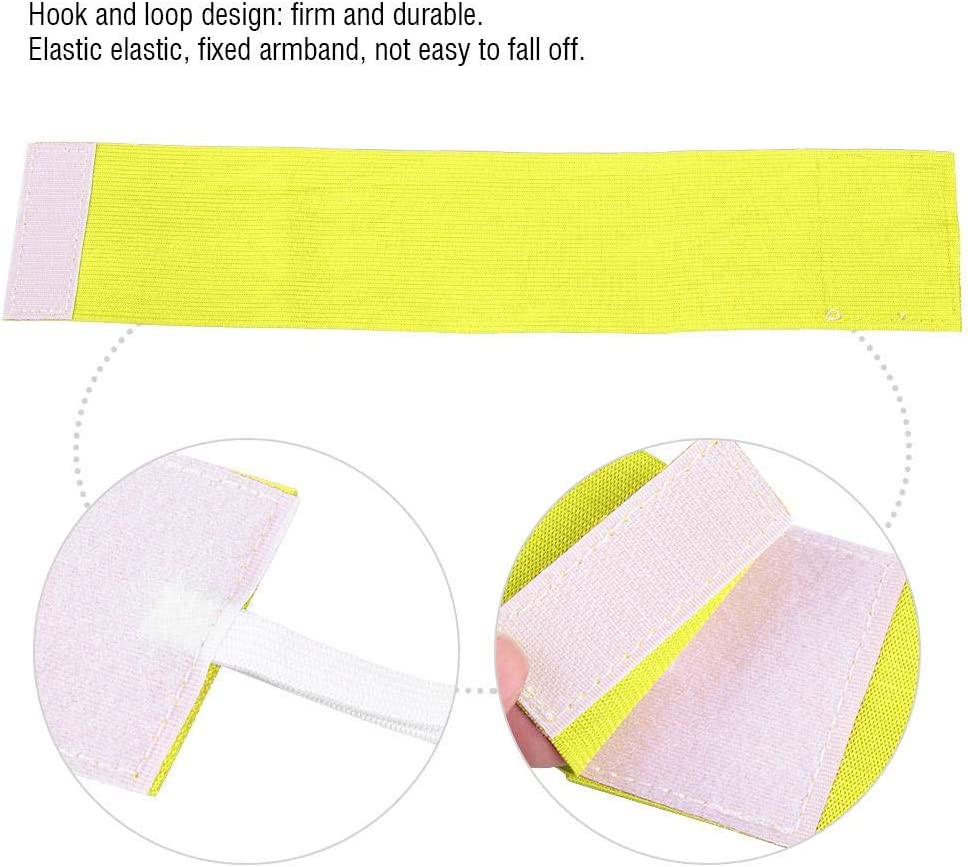 Yencoly Captain Armband for Adult for Youth Lightweight Elastic Bright Colors Nylon Hook/&Loop Portable Captain Arm Bands