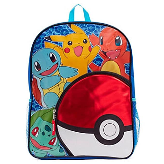 Pokemon 16 Inch Backpack with Poke Ball Front Pocket