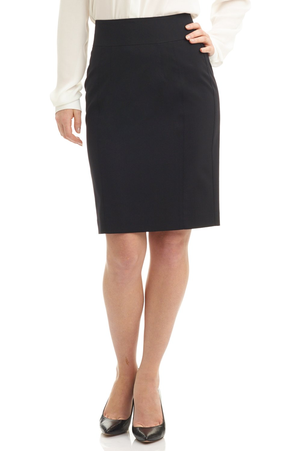 Rekucci Collection Women's Stretch Wool Pencil Skirt with Back Zip Detail (8,Black)