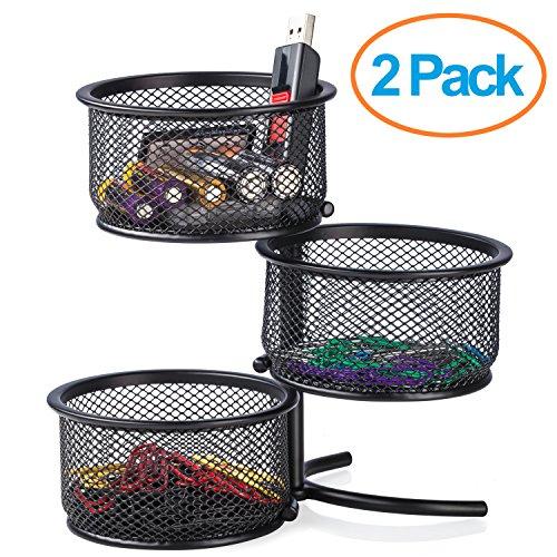 "Halter Steel Mesh 3 Tier Swivel Tower Sorter - Rotating Office Supply Stand - 6.5"" X 3.25"" X 2"" - 2 Pack"