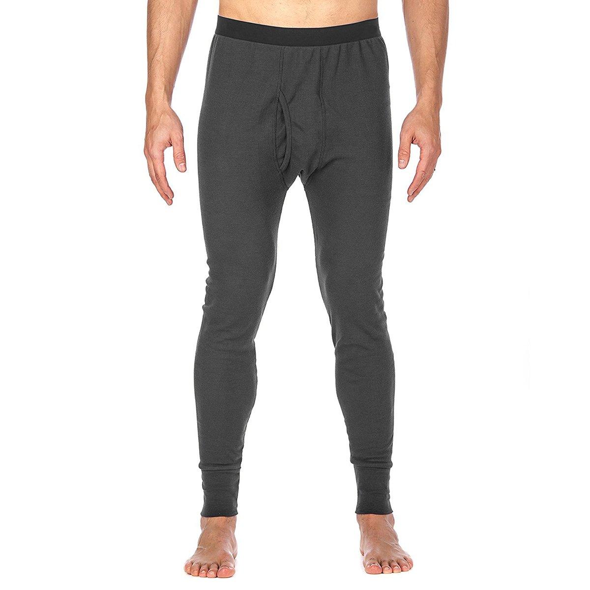 St. Johns Bay Men's Thermal Underwear Pant Light Base Layer Long Johns, Dark Gray, Medium