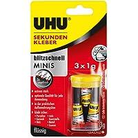 UHU Super Glue Ultra Fast Liquid Minis 1ml Card of 3, (33-45415)