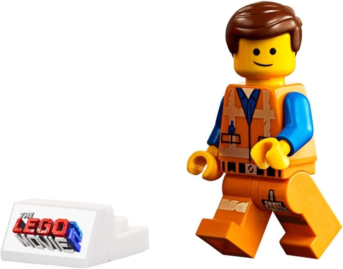 The LEGO Movie 2 MiniFigure - Emmet in Worn Uniform (Angry Face, and Display Stand) 70821