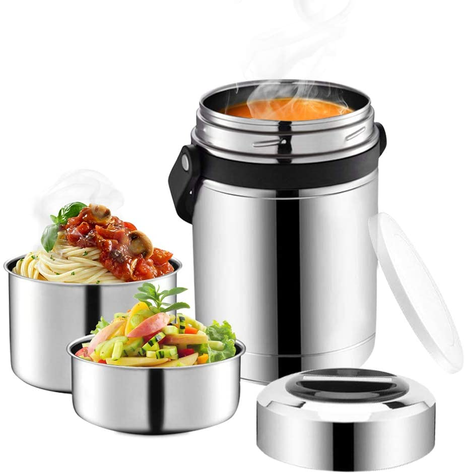 Soup Thermos for Hot Food,3 Tier 88oz Large Wide Mouth Food Thermos Jar,Multiple Tier Food Flask with Handle,Thermal Soup Container,Stainless Steel Food Jar,Travel Insulated Lunch Box,Lunch Container