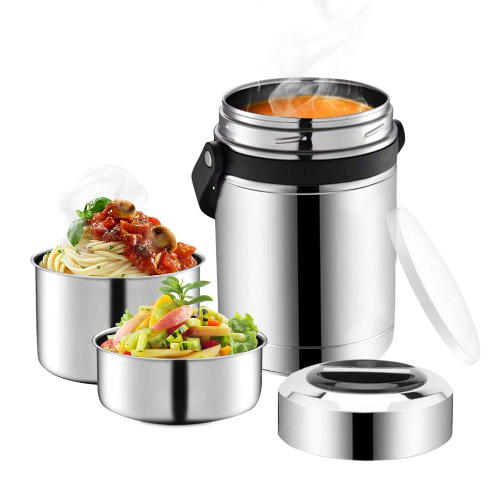 Soup Thermos,61oz Food Jar with Handle for Hot Food,3 Tier Thermal Insulated Lunch Thermos Wide Mouth,304 Stainless Steel Vacuum Insulated Flask,Travel Food Storage Carrier Container Bento Box