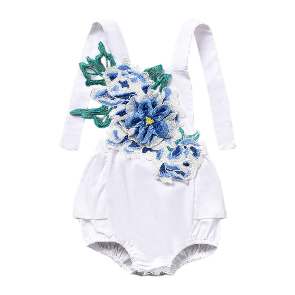 70, Blue Lucoo Newborn Baby Clothes Fathers Day Gift for New Dad Floral Embroidery Romper Bodysuit Outfits