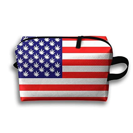 cb3d1cfd5f9d Amazon.com: Lqzdqa Unisex Tourist Bag Weed Us Flag Toiletry Bag ...