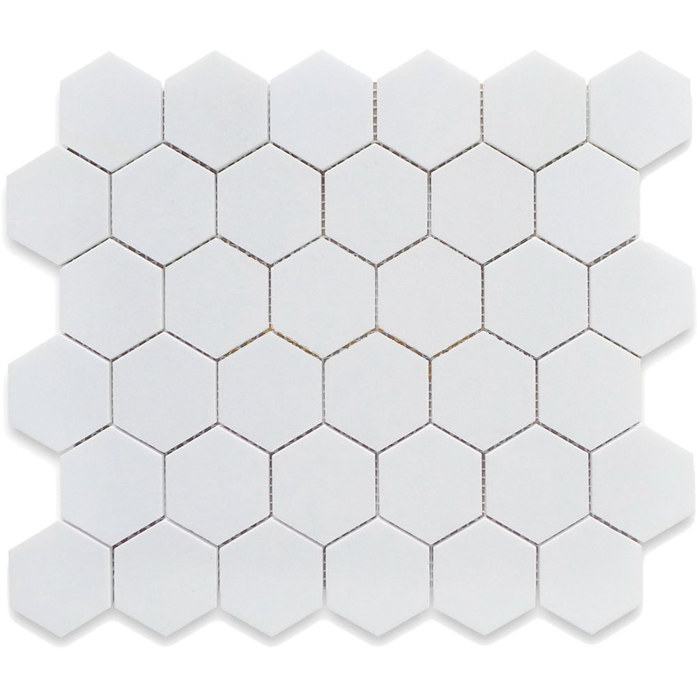 White 12X12 Hexagon Mosaic- 11pcs/carton (11 sq ft) by USCT