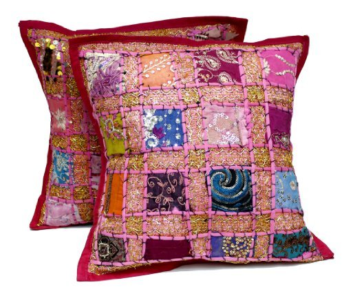 2 Pink Embroidery Sequin Patchwork Indian Sari Throw Pillow Krishna Mart Cushion -