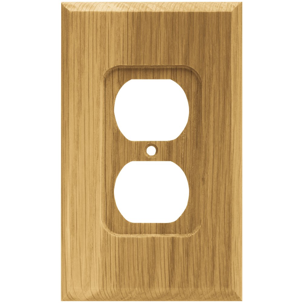 Brainerd 64665 Wood Square Single Duplex Outlet Wall Plate / Switch Plate / Cover, Medium Oak by Brainerd (Image #2)