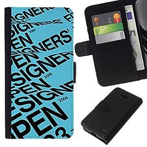 All Phone Most Case / Oferta Especial Cáscara Funda de cuero Monedero Cubierta de proteccion Caso / Wallet Case for LG OPTIMUS L90 // Designer Open Blue Text Event Poster