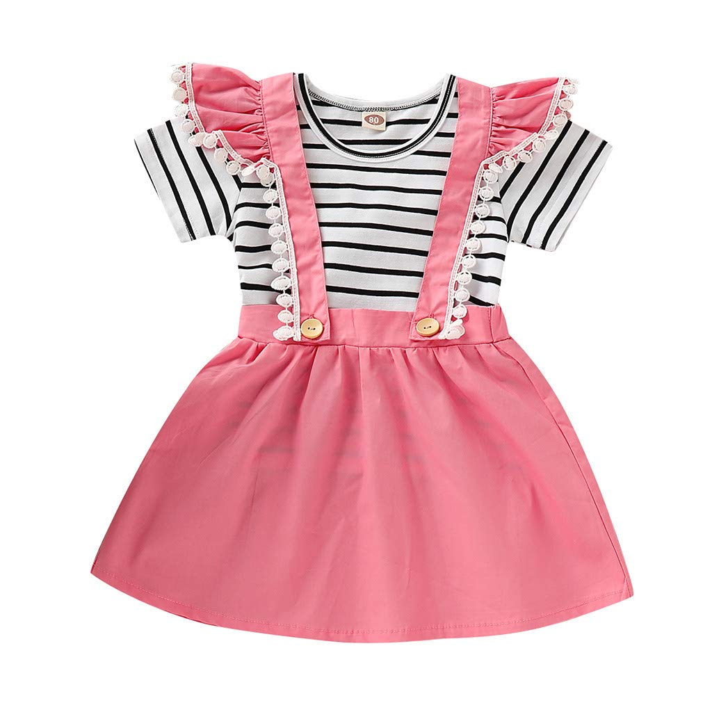 Cute Baby Girls Clothes Set,Jchen Kids Baby Girls Striped Print T-Shirt +Lace Splice Strap Skirts Casual Outfits for 0-4 Yrs (Age:2-3 Years Old, Pink)